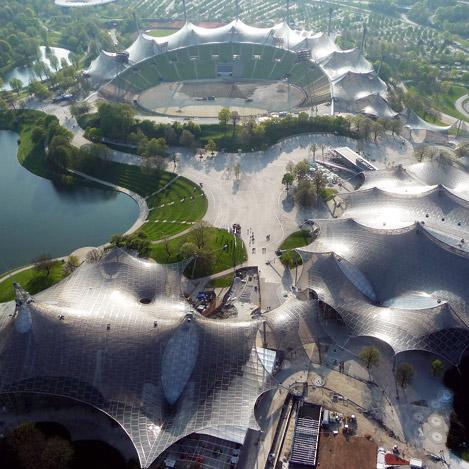 Toits des infrastructures du site des JO de Munich. © Ch. Kanstinger